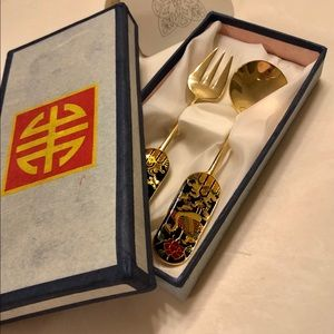 24K GP tea spoon and fork from Korea.